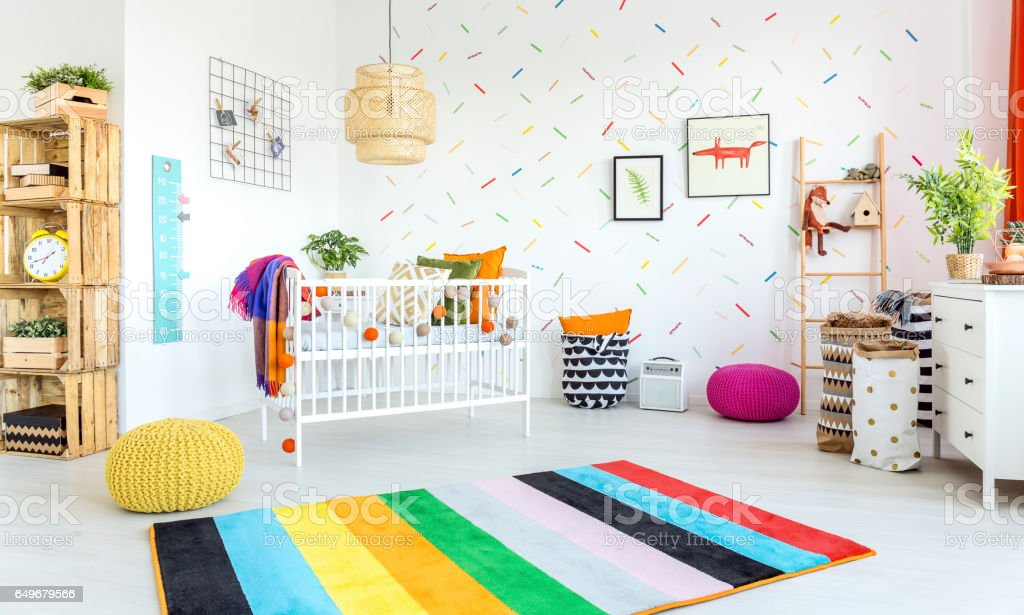 Modern baby room stock photo