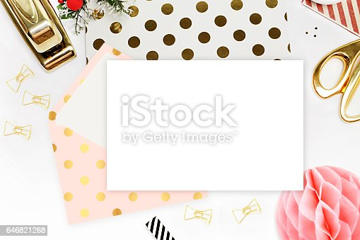 istock Modern background. Mock-up for your photo or text Place your work. Woman desktop, template card. Header website or Hero website. Flat lay. Open envelope with blank 646821268