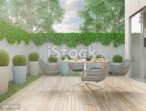 Modern minimalistic style backyard on a sunny day. Render image