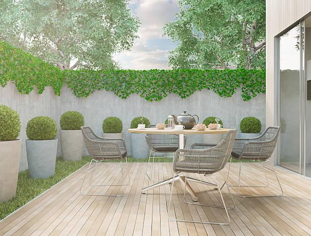 moderne garten - terrasse grundstück stock-fotos und bilder
