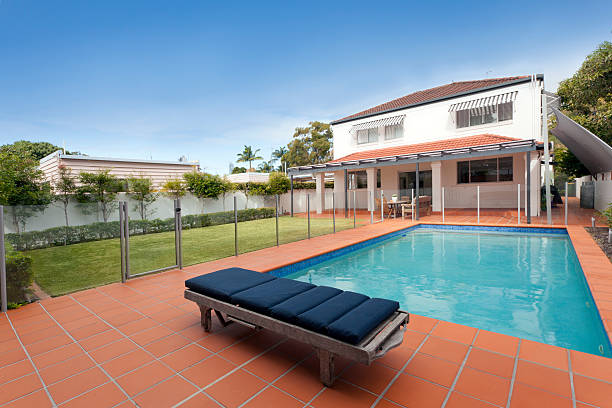 Modern backyard with pool stock photo