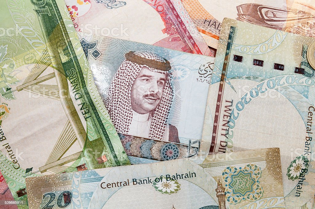 Modern Bahrain dinars banknotes, close up background stock photo