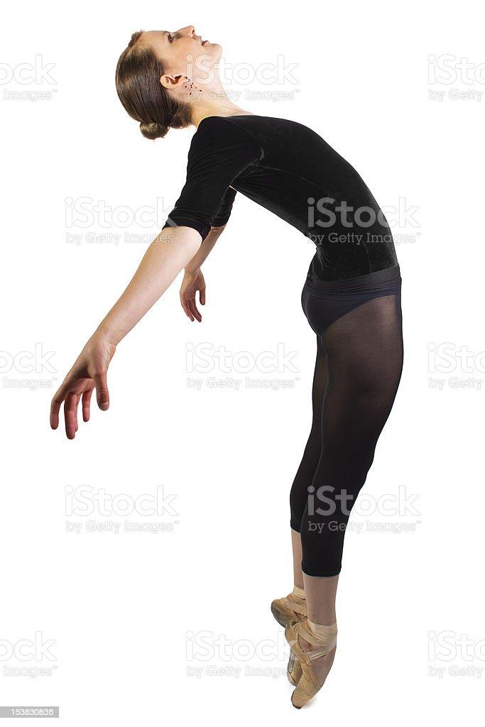 Modern Ballet Dancer Leaping on White Background royalty-free stock photo