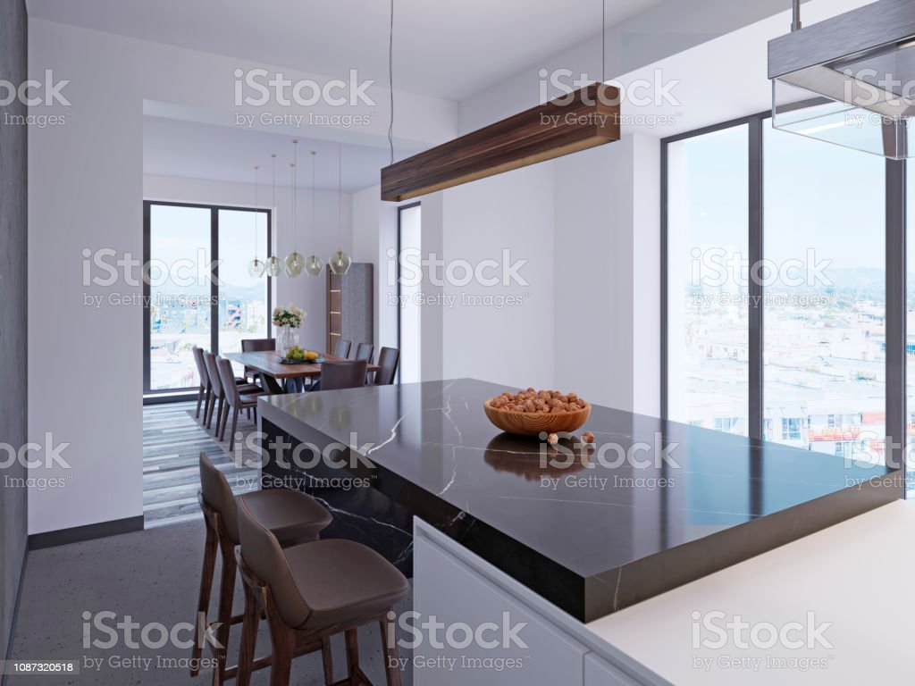 Modern Bar Counter In Contemporary Kitchen With Dining Area And Large  Panoramic Windows Stock Photo   Download Image Now