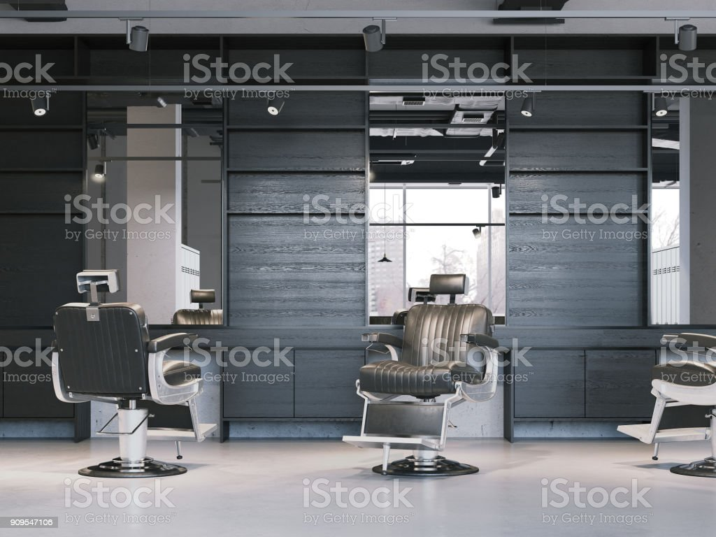 Modern barbershop interior with chairs. 3d rendering stock photo