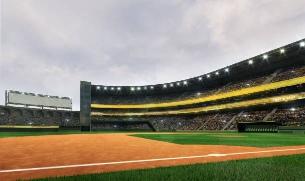 Modern baseball stadium playground field in cloudy daylight weather public sport building 3D render background infield stock pictures, royalty-free photos & images