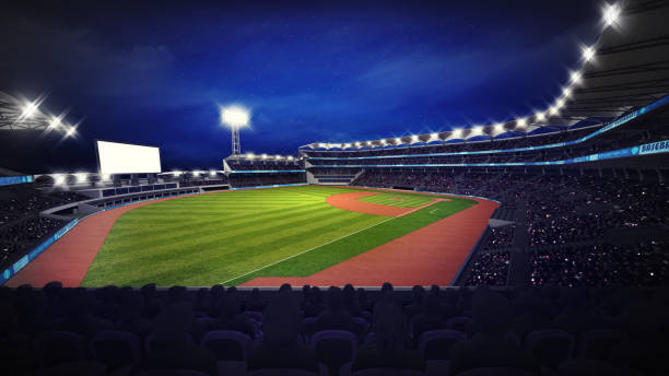 modern baseball stadium with fans at corner view sport theme 3D illustration infield stock pictures, royalty-free photos & images