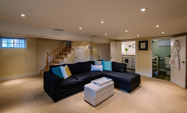 Modern Basement interior stock photo