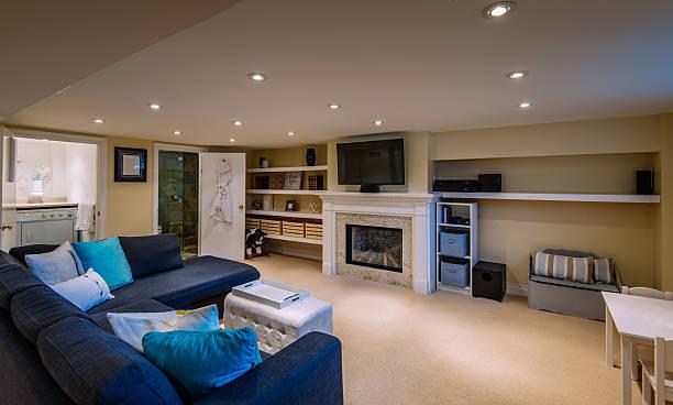 modern basement interior - basement fotografías e imágenes de stock