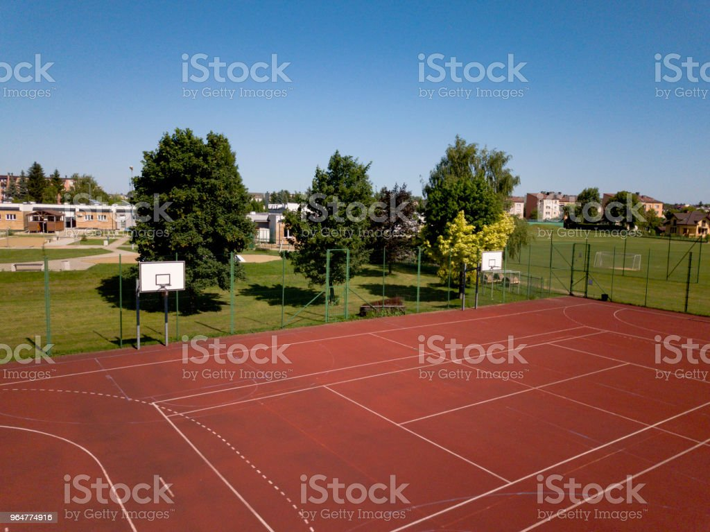 Modern basketball court in the courtyard on the centre of municipal sports and recreation. stock photo