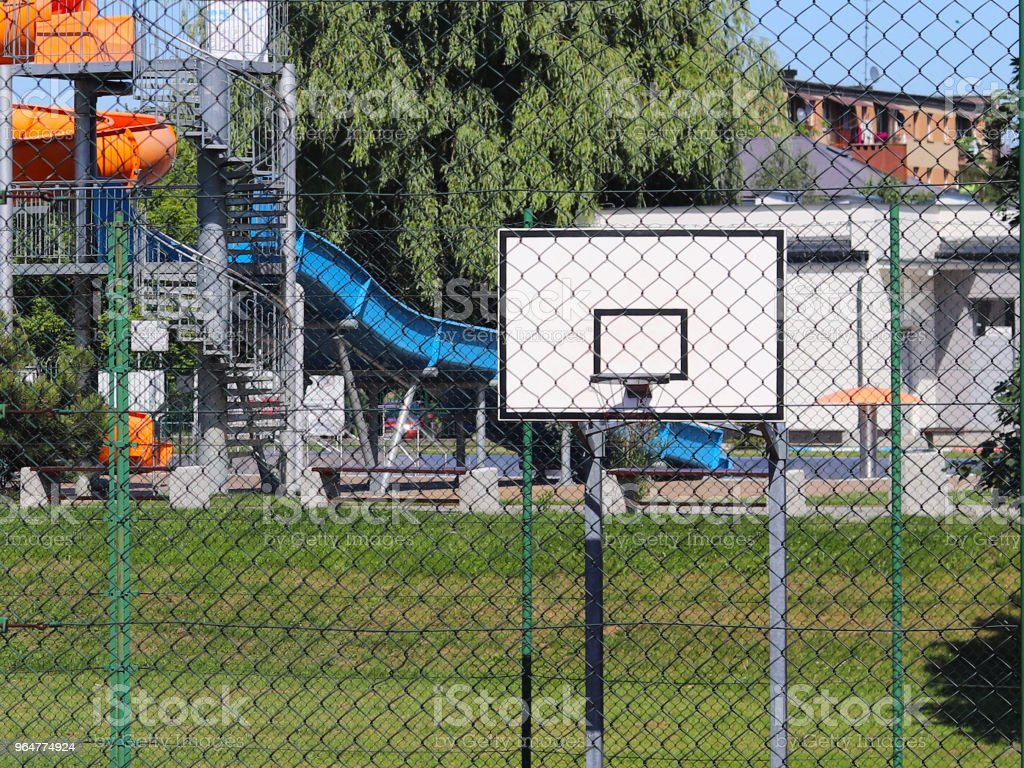 Modern basketball court in the courtyard on the centre of municipal sports and recreation. royalty-free stock photo