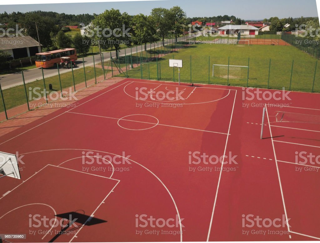 Modern basketball court in the courtyard on the centre of municipal sports and recreation. - Royalty-free Architecture Stock Photo