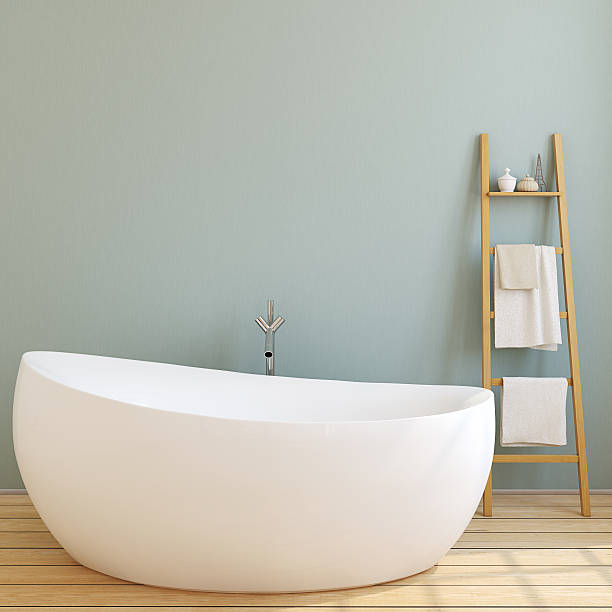 moderne badezimmer. 3 d abbildung. - badewanne holz stock-fotos und bilder