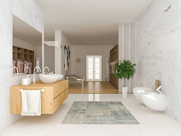 modern bathroom and wardrobe - minimalbadezimmer stock-fotos und bilder