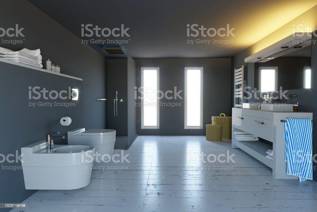 Moderno Cuarto De Baño Completo Con Ducha Sanitarios Y ...