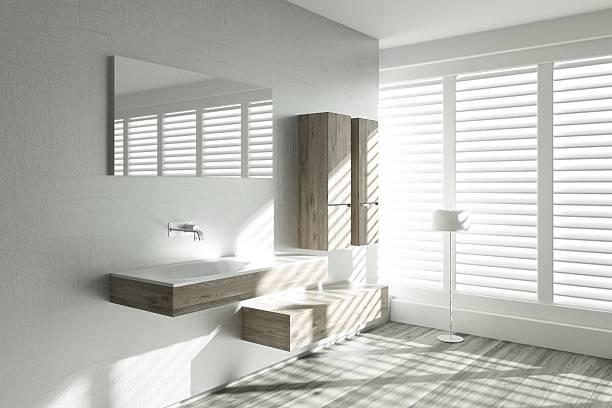 modernes design im badezimmer - badezimmermöbel holz stock-fotos und bilder