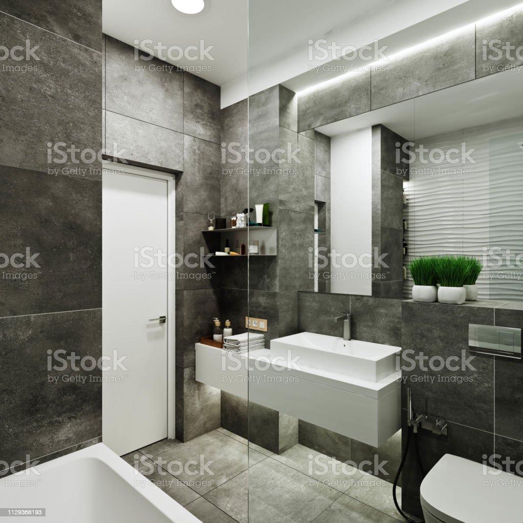 Moderne Badgestaltung Mit Fliesen Unter Beton Und Welle