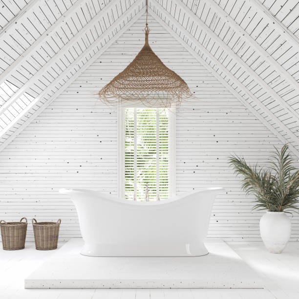Modern bathroom in attic of farm house Modern bathroom in attic of farm house, 3d render coastal feature stock pictures, royalty-free photos & images