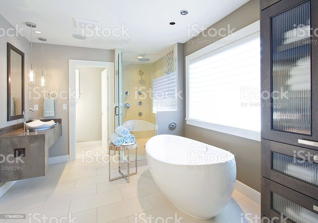 Bathroom with bathtub, sink, shower, and more!
