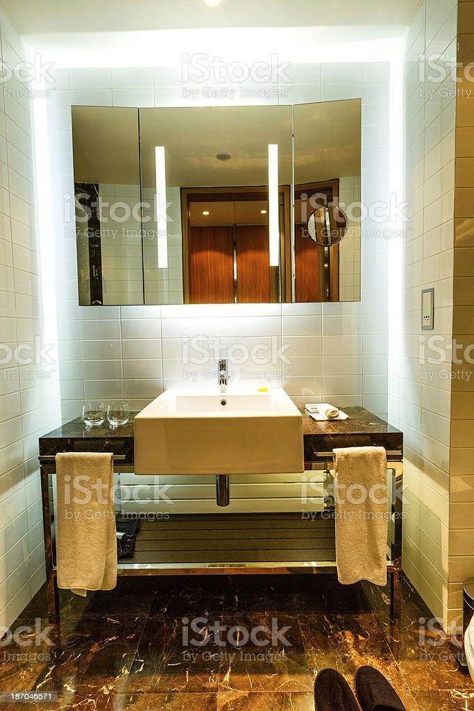 Modern bathroom in luxury hotel stock photo