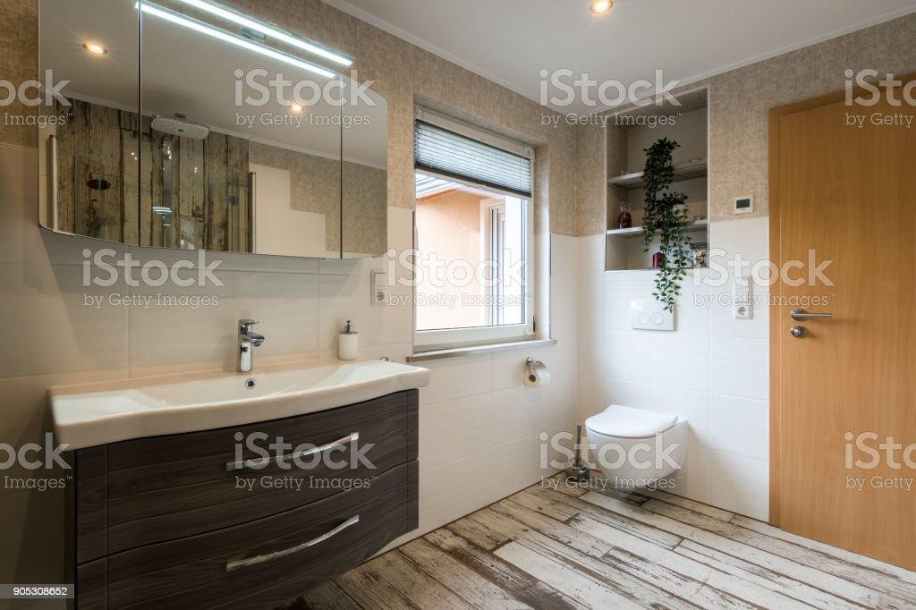 Modern bathroom in vintage style with toilet horizontal shot stock photo