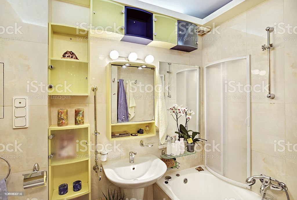 Modern Bathroom in yellow and blue vivid colors royalty-free stock photo