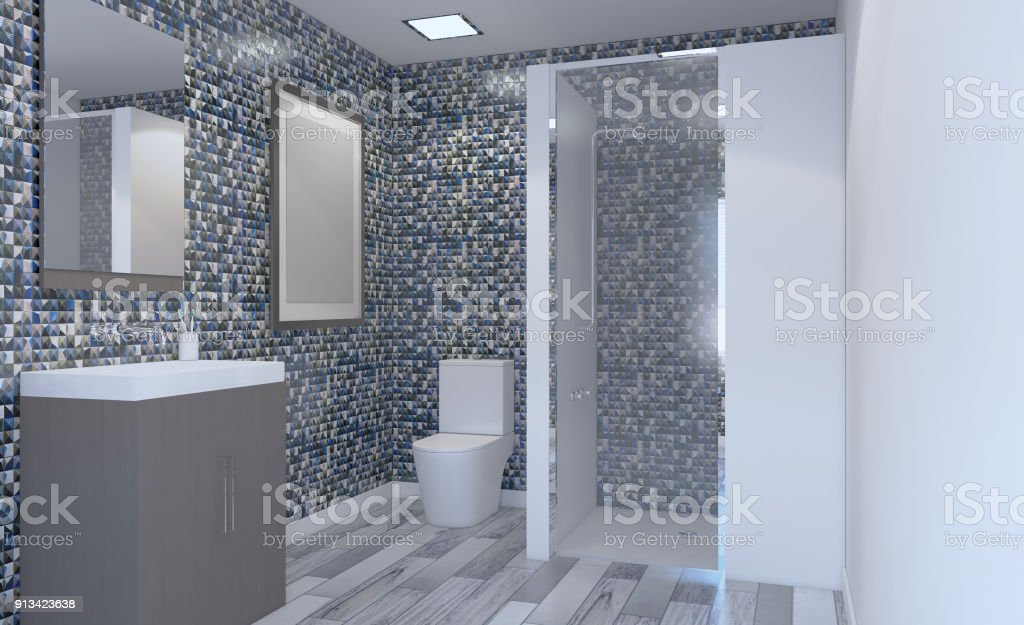 Modern Bathroom Including Bath And Sink 3d Rendering Blank Paintings Stock Photo Download Image Now Istock