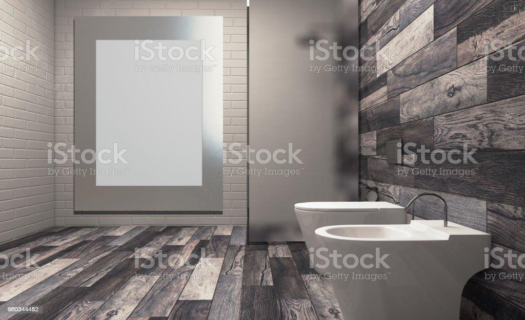 Modern bathroom including bath and sink. 3D rendering. Blank paintings.  Mockup. stock photo