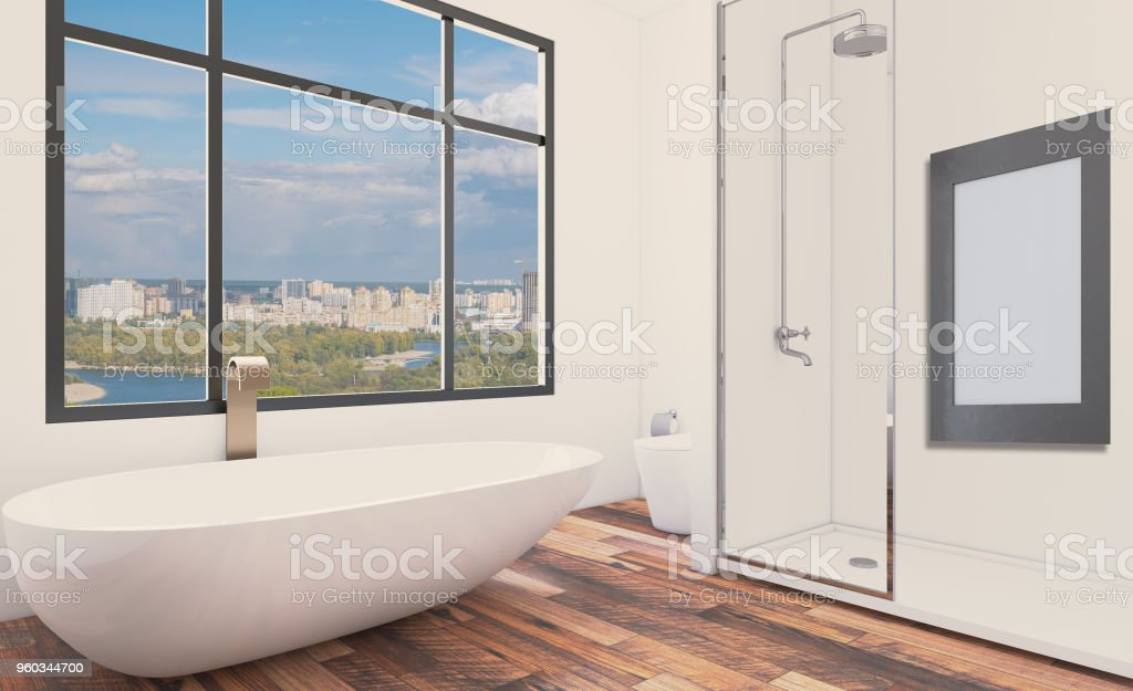 Modern bathroom including bath and sink. 3D rendering.. Empty paintings stock photo