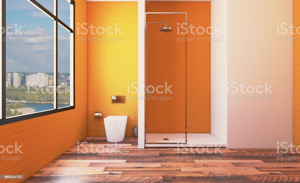 Modern bathroom including bath and sink. 3D rendering. stock photo