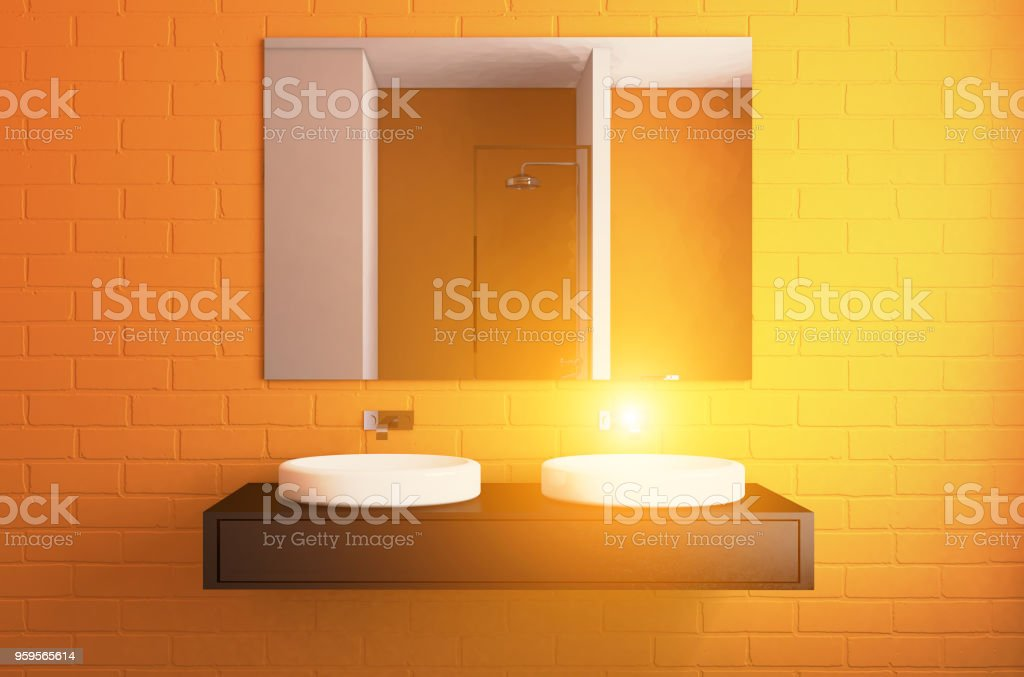 Modern bathroom including bath and sink. 3D rendering.. Sunset stock photo
