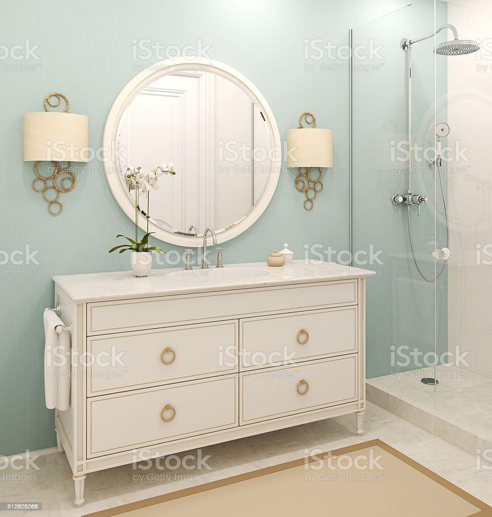 Modern bathroom interior. 3d rendering. stock photo