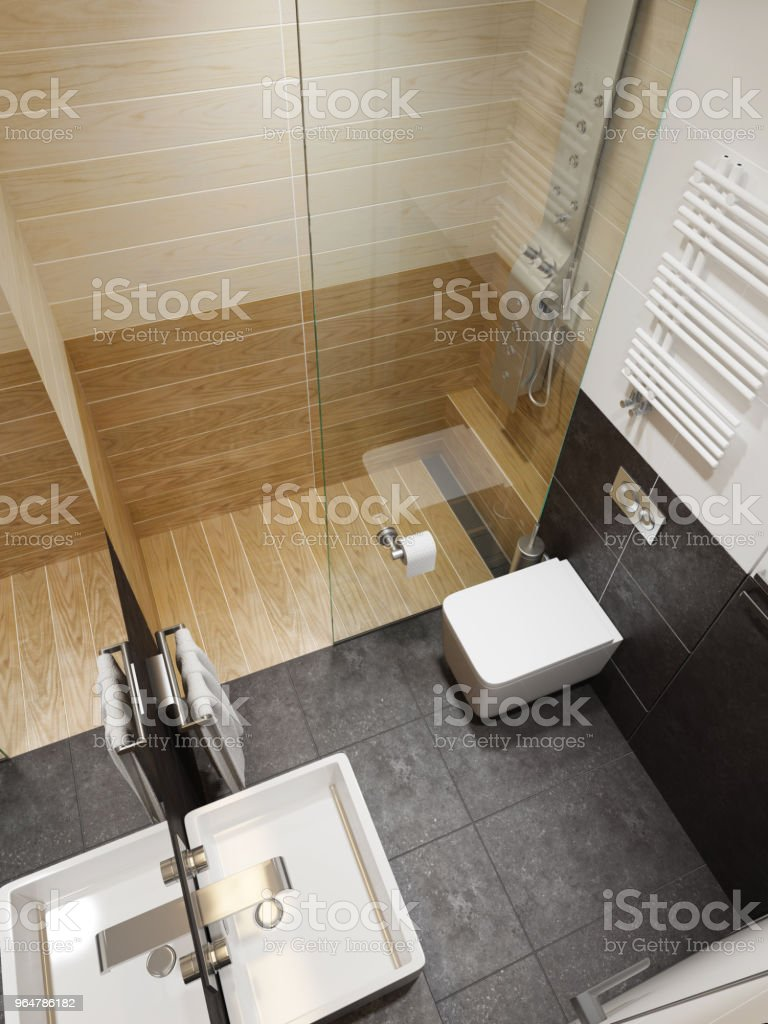 modern bathroom interior, 3d rendering royalty-free stock photo