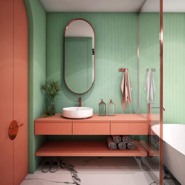 projeto interior do banheiro moderno, rendição 3d, ilustração 3d - rosa cor - fotografias e filmes do acervo