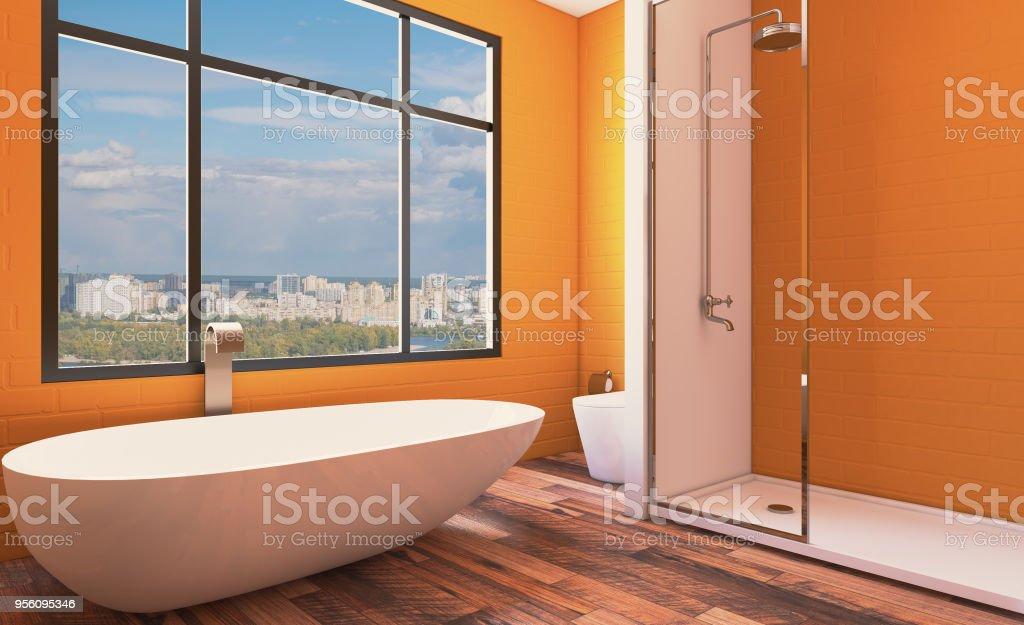 Diseño De Interiores Moderno Cuarto De Baño Renderizado 3d ...