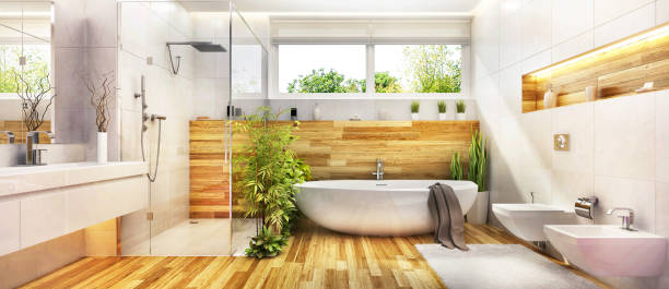 Modern bathroom interior design Modern bathroom design with beautiful bath, shower and plants. Wooden bathroom plants in bath stock pictures, royalty-free photos & images