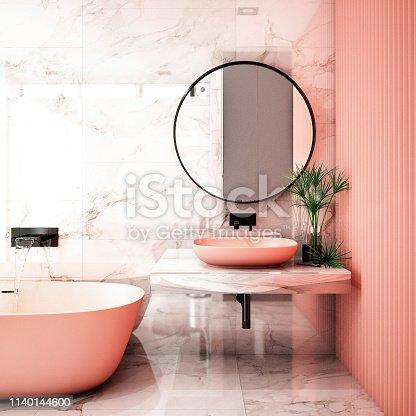 istock Modern Bathroom Interior design,3d rendering ,3d illustration 1140144600