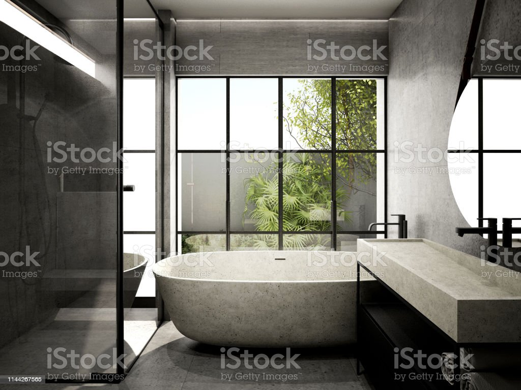 Modern Bathroom Interior Design3d Rendering 3d Illustration Stock Photo Download Image Now Istock