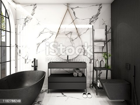 istock Modern Bathroom Interior design,trend design 2019 ,3d rendering ,3d illustration 1152788249