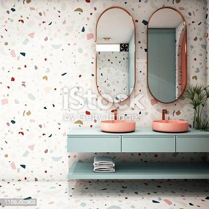 istock Modern Bathroom Interior design,trend design 2019 ,3d rendering ,3d illustration 1159392966