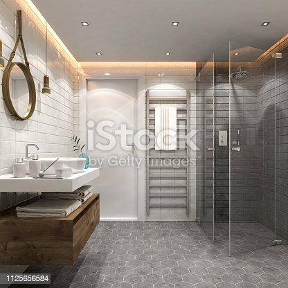 Modern bathroom interior. Render image.