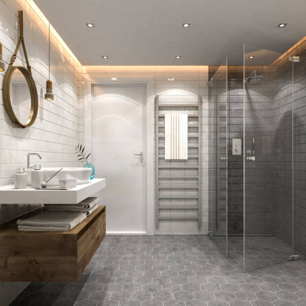 modernes badezimmer interieur - fliesenboden stock-fotos und bilder