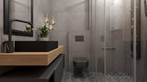 interior moderno do banheiro - banheiro instalação doméstica - fotografias e filmes do acervo