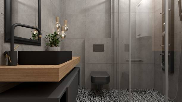 Modern bathroom interior 3D interior design of a modern industrial style bathroom bathroom stock pictures, royalty-free photos & images