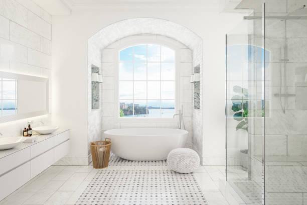 interior moderno do banheiro - banheiro doméstico - fotografias e filmes do acervo