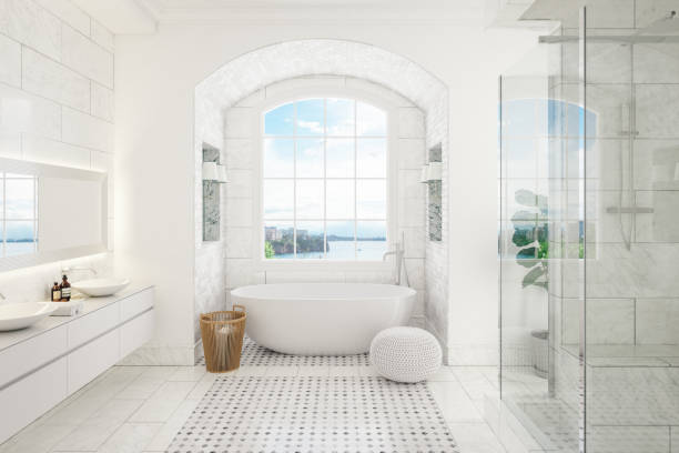 Modern Bathroom Interior Interior of a contemporary bathroom with washstand and bathtube. bathroom stock pictures, royalty-free photos & images