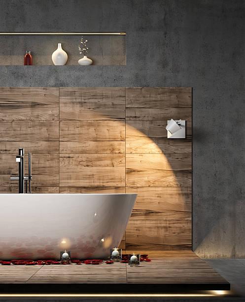 modernes badezimmer innenraum - badewanne holz stock-fotos und bilder