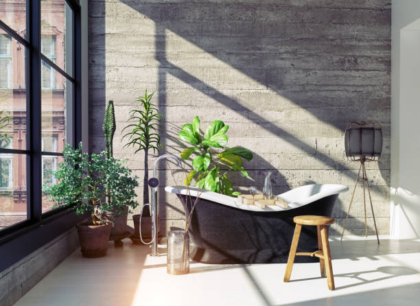 modern bathroom interior. Modern loft bathroom interior. Glass wall 3d concept domestic bathroom stock pictures, royalty-free photos & images