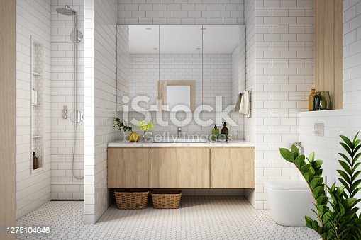 Modern Bathroom Interior stock photo - 3d render