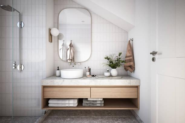 foto de estoque de interior de banheiro moderno - banheiro doméstico - fotografias e filmes do acervo